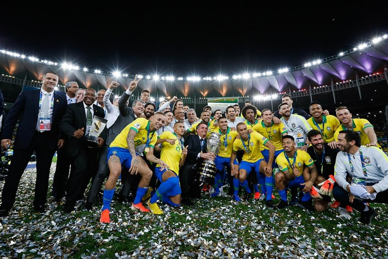 Brazil celebrating winning the 2019 Copa America