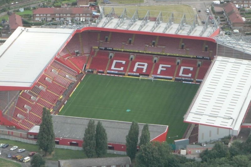 An aerial shot of The Valley, the home of Charlton Athletic F.C.