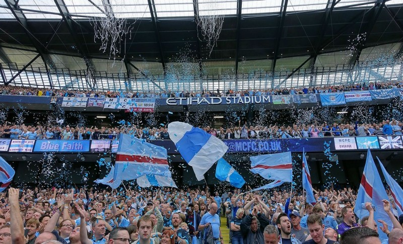 Etihad Stadium Man City fans celebrate